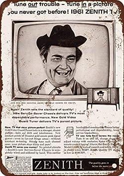SIGNCHAT 1961 Rojo Skelton para Zenith Televisores Clá Metal Estaño Sign Metal Estaño Sign 8 x 12 Pulgadas: Amazon.es: Jardín