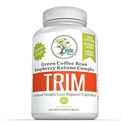 Garcinia Cambogia TRIM Complex - Raspberry Ketones + Green Coffee Bean, Advanced All Natural - Fat Burning - Weight Loss Blend RMB Naturals - 60 Caps
