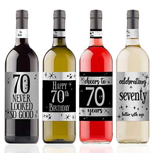 (Happy 70th Birthday Wine Bottle Labels | Shiny Silver Foil | 4 Stickers)