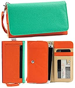 Universal PU Leather Case Cover&Wallet w/Clear ID Slot for Nokia Lumia 830[ORANGE/GREEN] NuVur &153;