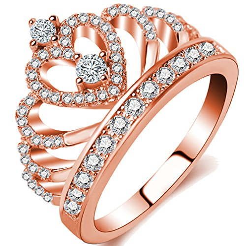 Women's Crown Tiara Rings Shinning 18K Gold Plated Princess CZ Love Hearts Wedding Engagement Promise Rings (Rose Gold, 8) (18k Pink Ring)