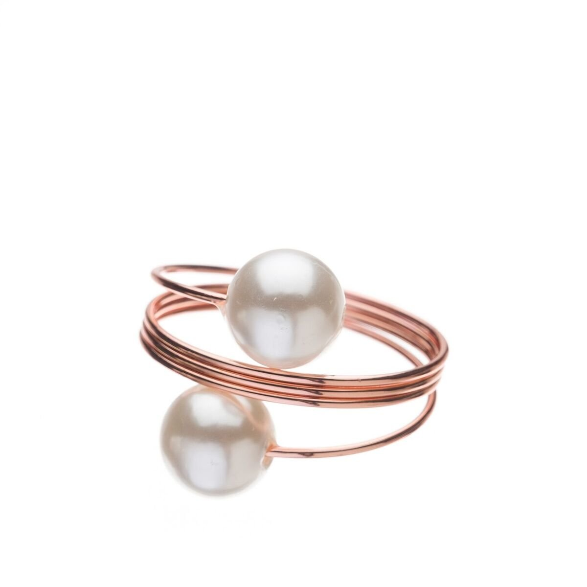Ella Celebration Pearl Napkin Ring Holders, Bulk Napkin Rings for Weddings, Rose Gold Set of 12 Wedding Table Decorations (Rose Gold)