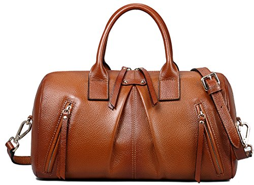 Borgasets Women's Genuine Leather Satchel Handbag Shoulder Bag (brown) Bg8068brown