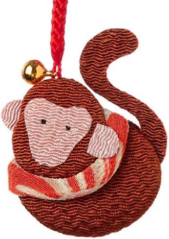 京都夢み屋十二支根付申 -さる- (YE15-18)ちりめん細工の干支小物Japanese zodiac accessory of crepe fabric