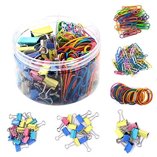 WAYDA 240 Pcs Binder Clips & Paper Clips, Rubber Bands,Paper Clamps Foldback Clips for Office Supplies, School Personal Document Organizing and Classifying Professional Work (Binder Acco Clips Colored)