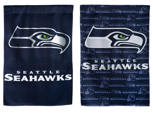 NFL Seattle Seahawks Glitter Accented Two Sided Garden Flag,
