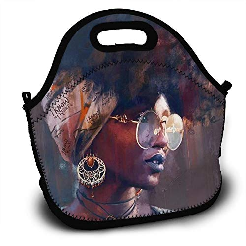 HeiZQheJ African American Melanin Poplin Afro Girl Lunch Bag Handbag with Shoulder Strap Lunch Box Lunch Storage Bags