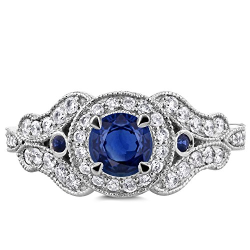 Antique Milgrain Sapphire and Diamond Engagement Ring 1 Carat (ctw) in 14k White Gold, Size 7 by Kobelli (Image #3)