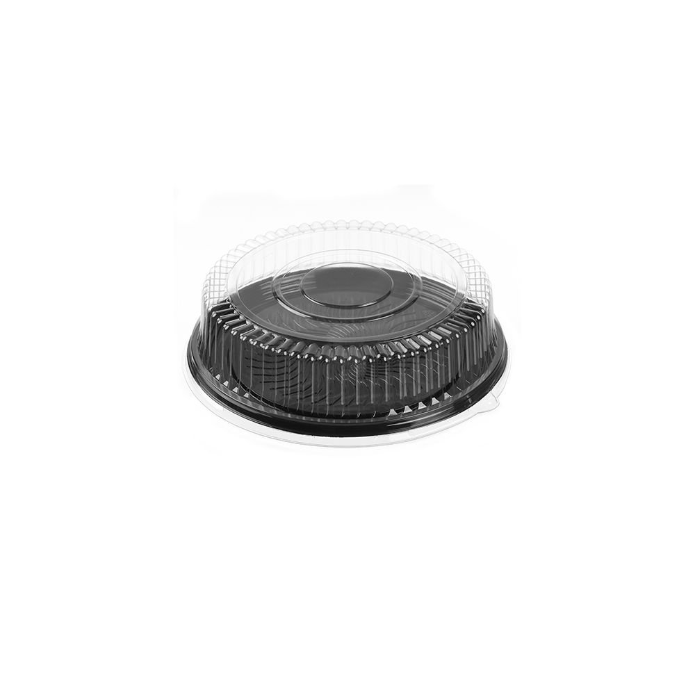 Par-Pak 51640-C Round 16.5'' Black Catering Tray W/ Lid - 25 / CS by Walco Organization (Image #1)