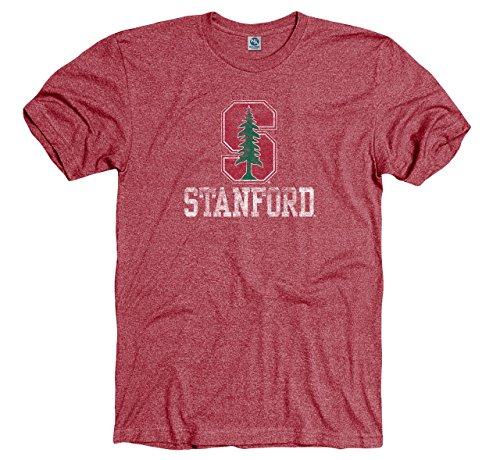 Stanford Cardinal Adult Logo Straight Tri Blend Short Sleeve T Shirt   Cardinal   Small