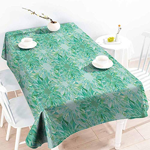 Resistant Table Cover,Turquoise Floral Pattern with Beryl Crystal Guilloche Flowers Carving Art Elements Image Print,High-end Durable Creative Home,W60X90L Green