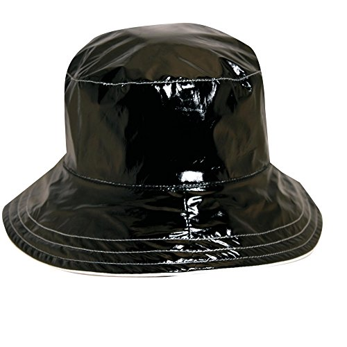Dorfman Pacific Scala Reversible Rain Hat w/ Polka Dot Lining (Black)