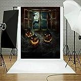 TAOtTAO Halloween Backdrops Pumpkin Vinyl 5x3FT Lantern Background Photography Studio (L)