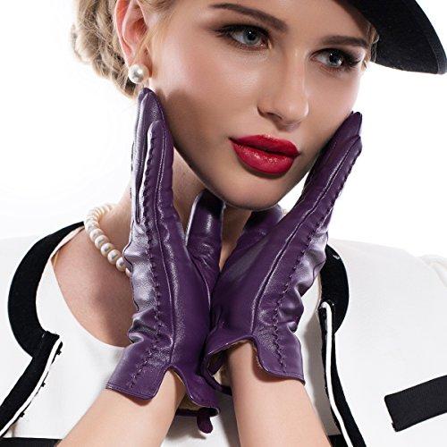 MATSU Casual Women Winter Warm Lambskin Leather Cashmere Touchscreen Gloves M9229 (M, Purple-TouchScreen)