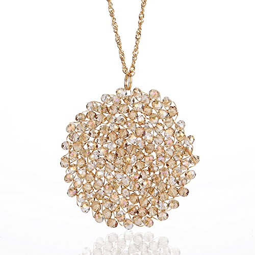 Niumike Crystal Disk Necklace with Circle Pendant for Women,Indus Hand-Made Long Necklaces, (Long Statement Necklace)
