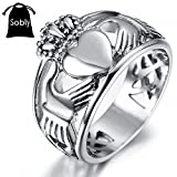 Sobly Jewelry Men's Stainless Steel Claddagh Heart Crown Ring with Celtic Knot Eternity Design (7)