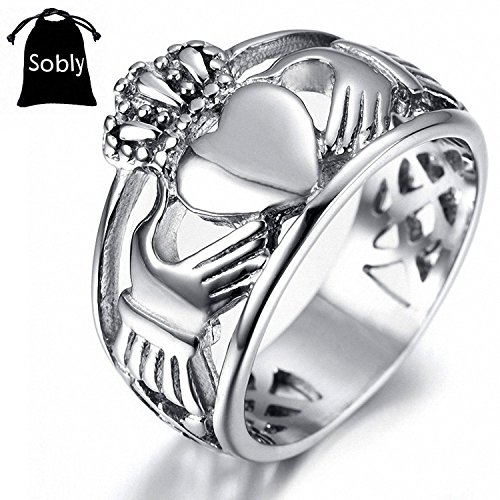 Sobly Jewelry Men's Stainless Steel Claddagh Heart Crown Ring with Celtic Knot Eternity Design (10) (Knot Ring Claddagh Gold)