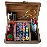 DDXTJ-DMM Wooden Sewing Basket/Sewing Box with Sewing Kit Accessories
