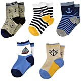 ALALIMINI Baby Toddler Boy&Girl's Ankle Socks 5-Pack Soft Cotton Breathable Elastic 2T 3T 4T 5T