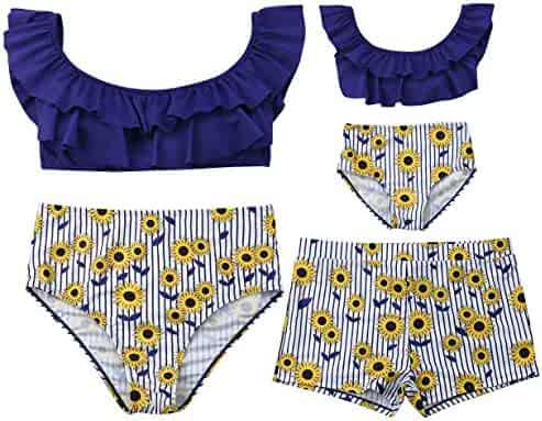 Renlinwell Baby Girls Swimsuit One Piece Swimwear Sunflower Printed Beach Bathing Bikini Suit