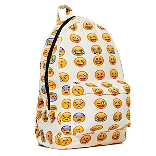2015 New Qq Printing Emoji Backpack Canvas Travel Satchel Cute (Attention Satchel)
