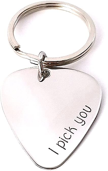 Personalised Guitar Pick Keychain /& Initial Letter Charm Ladies Men Music Gift