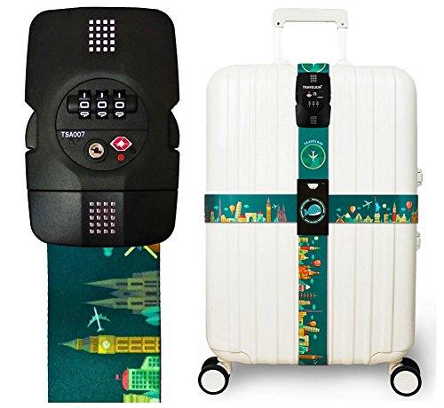 Luggage Strap Cross Straps TSA Combination Lock Adjustable Travel Belts Suitcase Belt