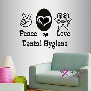 Wall Vinyl Decal Home Decor Art Sticker Peace Love Dental Hygiene Words  Sign Heart And Peace