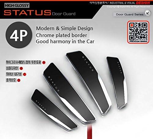 Status 4 Pcs High Glossy Slim Door Edge Guards Bumper Protector Trim Guard Black