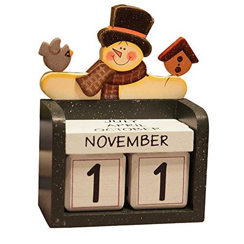 MyLifeUNIT DIY Perpetual Calendar Desk, Four Season Wooden Cubes Calendar for Home Office Shop - Shop Desk Calendars