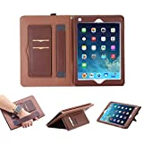 iPad 7.9 Inch Mini4 Case,iPad Mini 4 Sleeve Cover, Businda Multi Function Flip Leather Protective Case, Protection with a Hand Strap and Lanyard, 2 Card Slots for iPad Mini 4 Case, Dark Brown