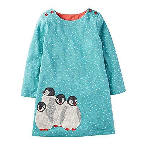KIDSALON Girls Cotton Casual Longsleeve Cartoon Princess Dress with Pocket (3T, (Crew Screen Print Jersey)