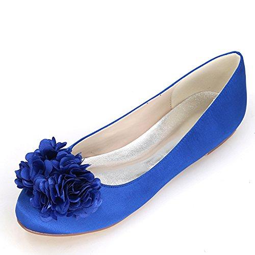 Sandali da Bianco Blue Donna Tondo Sera Pompe Avorio Scarpe Fiori da Sposa Danza da Punta Chiusa Tacco 9cm Elobaby qwO0vxU0