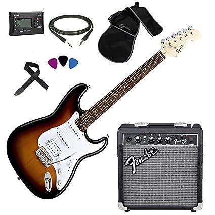 Fender, Squier Stratocaster SB HSS - Kit de guitarra eléctrica, amplificador Fender Frontman 10G