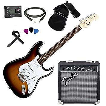 Fender, Squier Stratocaster SB HSS - Kit de guitarra eléctrica, amplificador Fender Frontman 10G y accesorios: Amazon.es: Instrumentos musicales