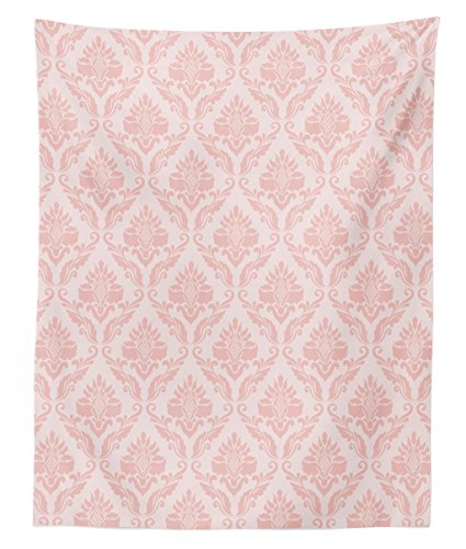 Tapestry Damask - Lunarable Blush Tapestry Twin Size, Damask Motif Retro Design of Floral Pattern Swirling Petals and Branches, Wall Hanging Bedspread Bed Cover Wall Decor, 68 W X 88 L Inches, Baby Pink Pale Pink