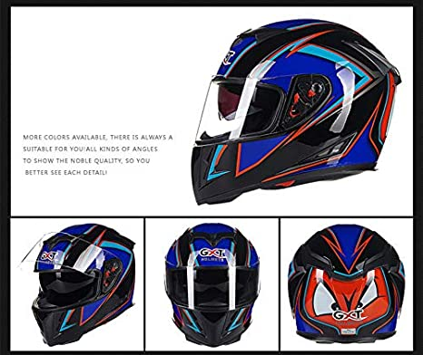 FairOnly Vida Conveniente Casco de Moto para Hombre Four Seasons Double Lens Casco antivaho Completo White Blue M