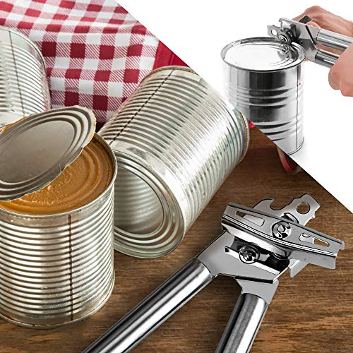 Can Opener Manual, Professional Food-Safe Stainless Steel Can Opener, Easy to Use for Kitchenaid, Can Opener/Jar/Bottle Opener with Smooth Edge(2 Spare Blades)