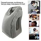GikPal Inflatable Travel Pillow, Portable and Ergonomic Head Neck Rest Pillow Fast Inflating Nap Traveling Pillow for Airplanes, Cars, Buses, Trains, Office Napping, Camping (Grey)