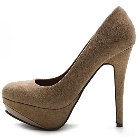 Ollio Women's Shoe Platform Faux Suede Classic High Heel Stiletto Multi Color Pump ZM12005(6 B(M) US, - Stiletto Heel Classic Pumps