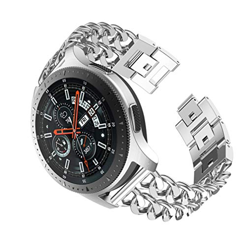 - REPOO Alloy Wristle for Galaxy Watch 46mm Samsung Galaxy S3 Classic/Frontier/Amazfit Huami 2 Sport/ 2S/Gamin Vivomove Watch, with Denim Chain Jewelry Buckle Premium Metal Replacement Strap (Silver)