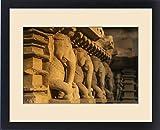Framed Print of Elephant sculptures of Khajuraho, Madhya Pradesh, India