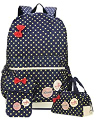 Samaz 3Pcs Lightweight Casual Canvas Backpack Cute Bow School Bags for Teen Girls