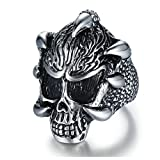 Aooaz Jewelry Band For Men Stainless Steel Fierce Skull Shapedfinger Ring Silver Us Size 7