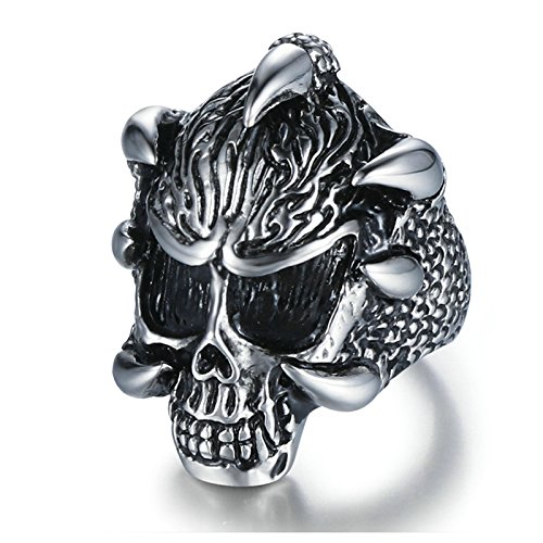 Aooaz Jewelry Band For Men Stainless Steel Fierce Skull Shapedfinger Ring Silver Us Size 7 by Aooaz