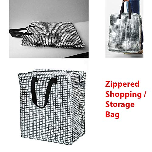 Set of 1 (Black/White) Shopping Bag Zippered Grocery Tote Gifts Reusable Tkmini9 from Unknown
