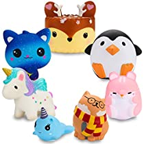 BEYUMI Slow Rising Toy 7 Pcs Unicorn, Cat, Hamster, Cake Squishy Toy, Kawaii Cream Scented Simulation Cute Aniamls & Food Toys Gift for Kids Lovely Stress ReliefToy