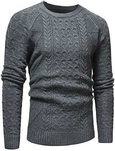メンズセーター 冬のプルオーバーのセーターニットクルー長袖ニットトップにメンズクラシックスタイルのチャンキーケーブルニットジャンパープレーンカジュアルなデザインのプル 長袖トップス (Color : Gray, Size : L)