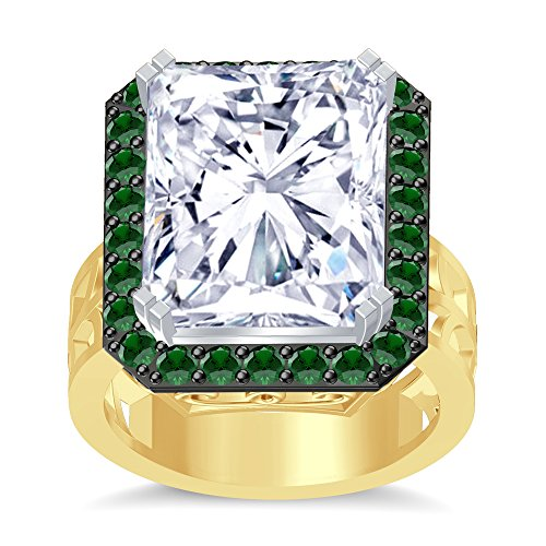 Silvergemking RediantCut Green Garnet Simuleted Diamonds Hand Craft Wedding Ring 14K Yellow Gold Plated ()