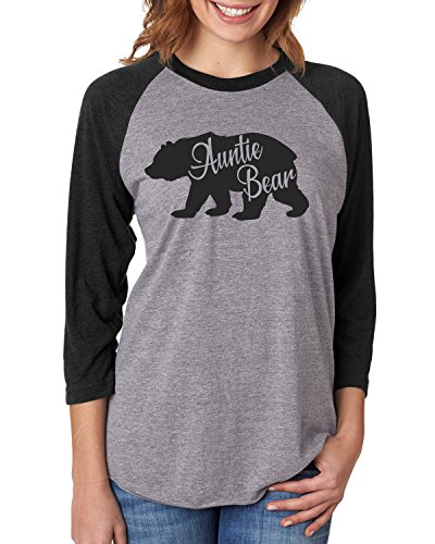 Rose Cottage Design Company Auntie Bear Long Sleeve Shirt | Preggers Announcement Shirt | Raglan 3/4 Sleeve | Aunt Bear Grey Shirt (X-Large)